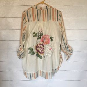 Anthro Aratta Silent Journey Embroidered Shirt